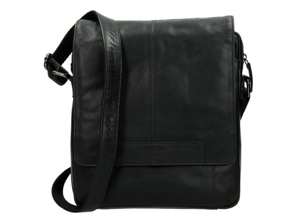 Pánská kožená crossbody taška - černá
