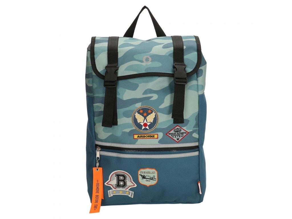Školní batoh v leteckém stylu - Beagles - modrý maskáč