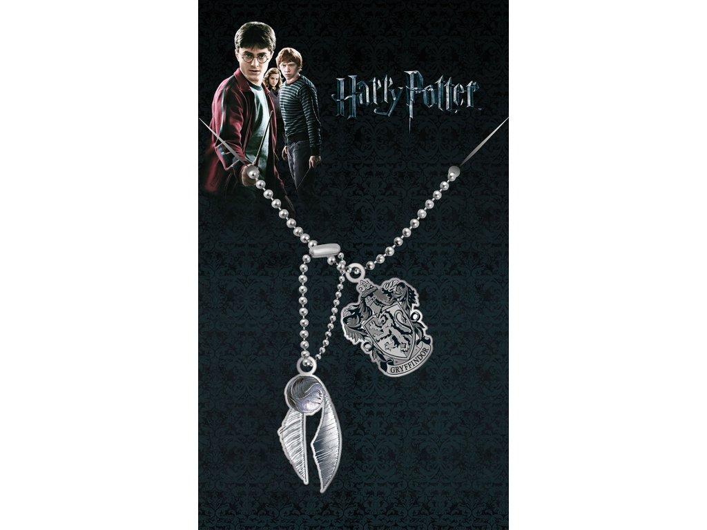 Harry Potter náhrdelník zlatonka a erb Nebelvír