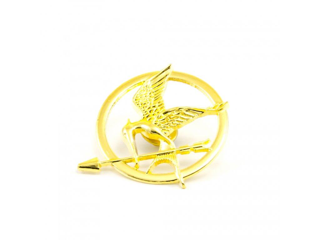 Hunger Games brož Reprodrozd zlatá