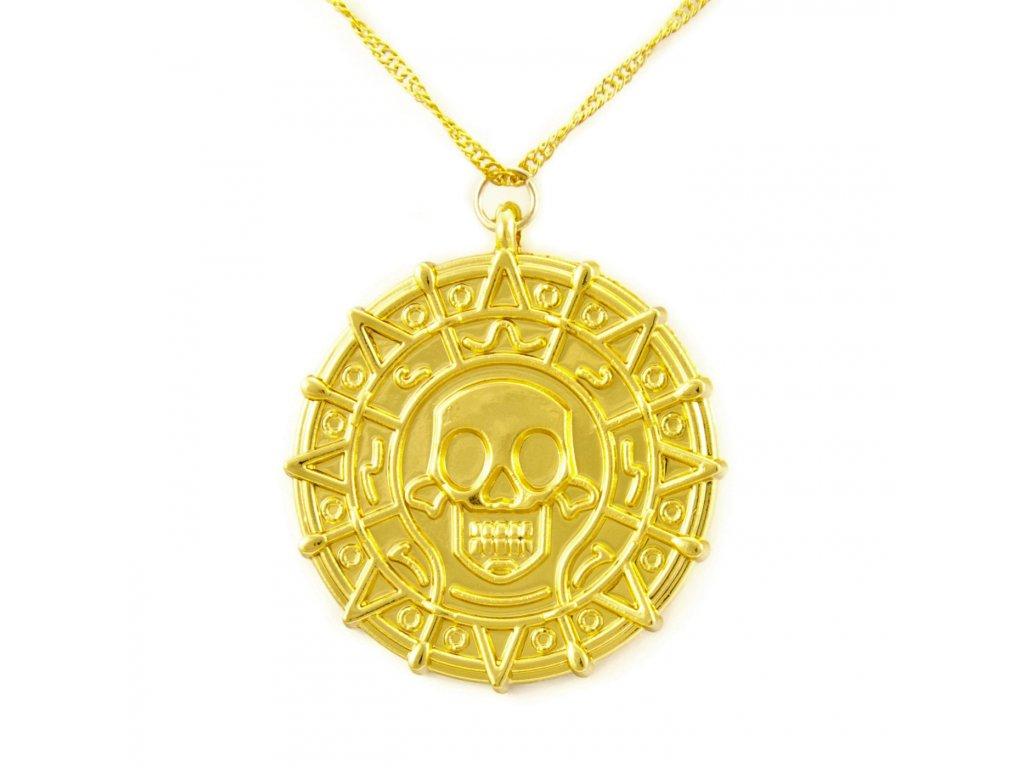 Piráti z Karibiku náhrdelník Aztécká mince - zlatá