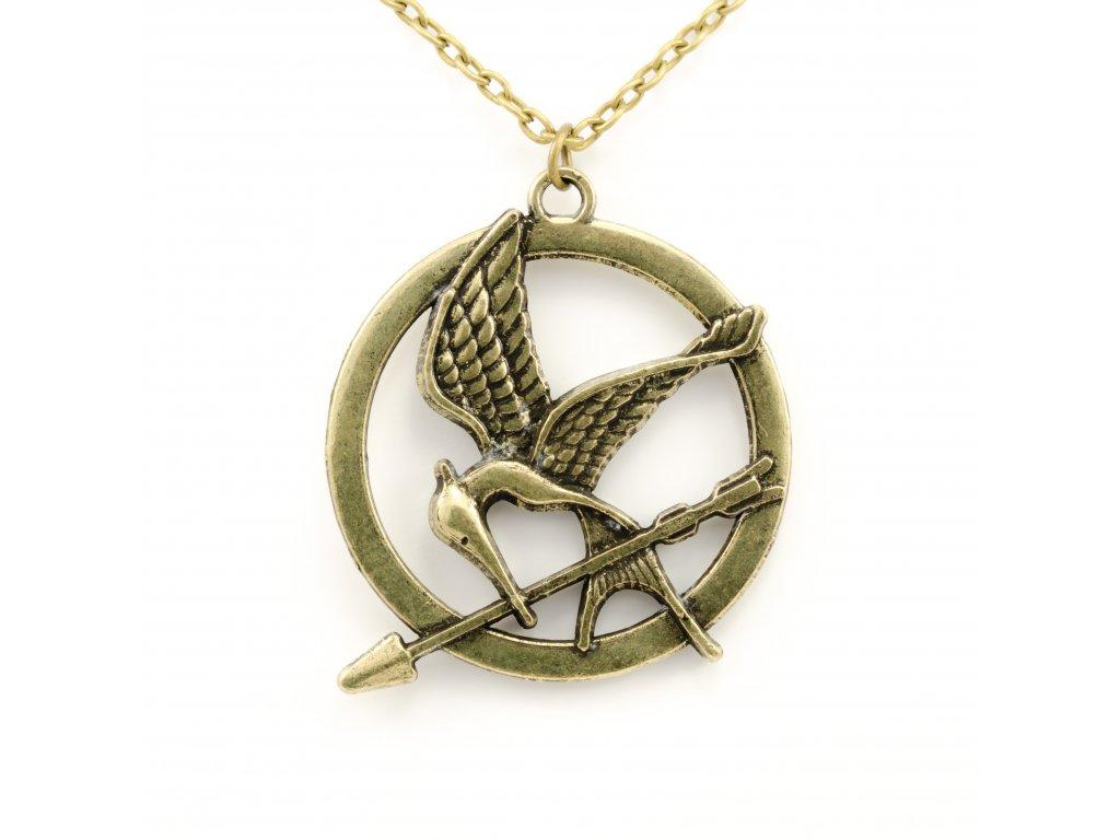 Hunger Games náhrdelník Reprodrozd bronzový