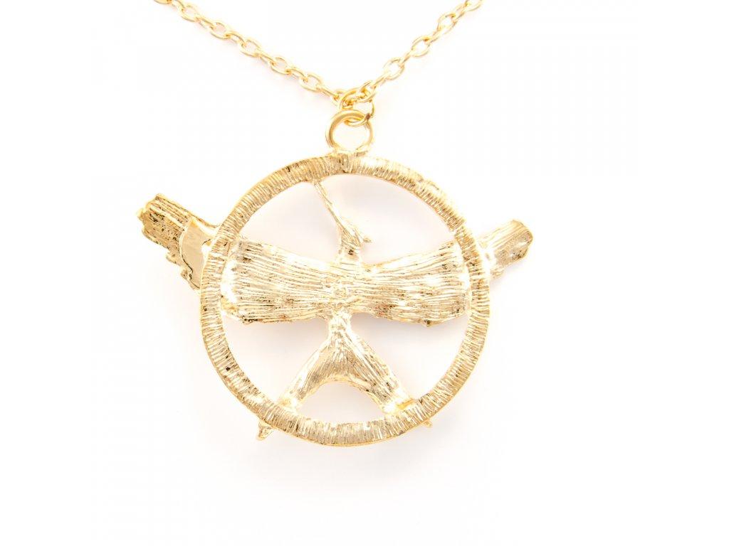 Hunger Games náhrdelník Reprodrozd - Mockingjay zlatý