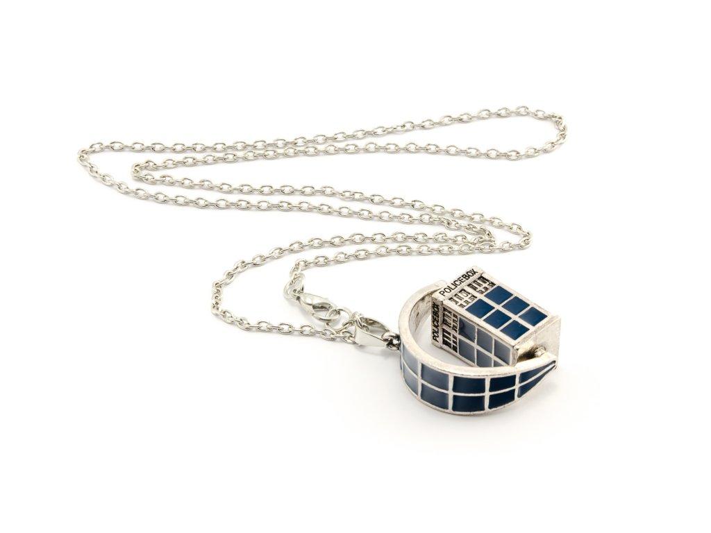 Pán Času náhrdelník Tardis starostříbro modrý