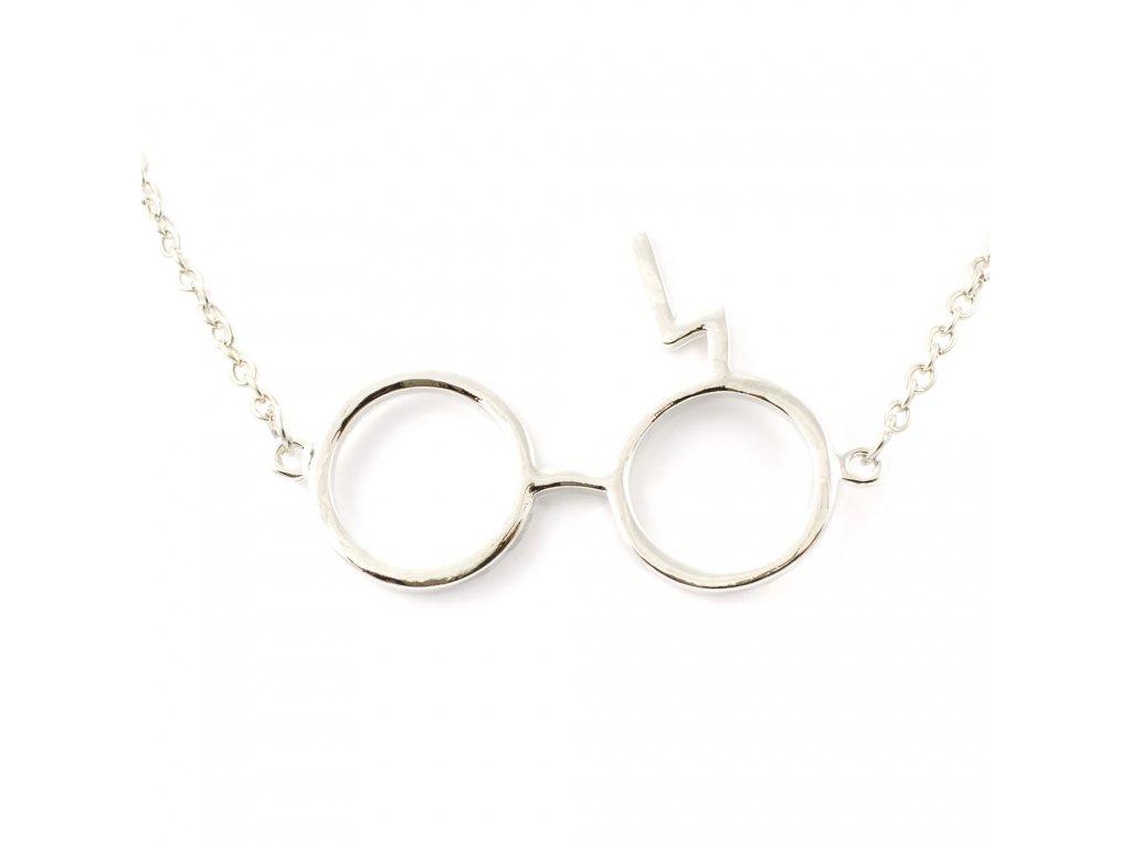 Harry Potter náhrdelník kulaté brýle a blesk - stříbrný