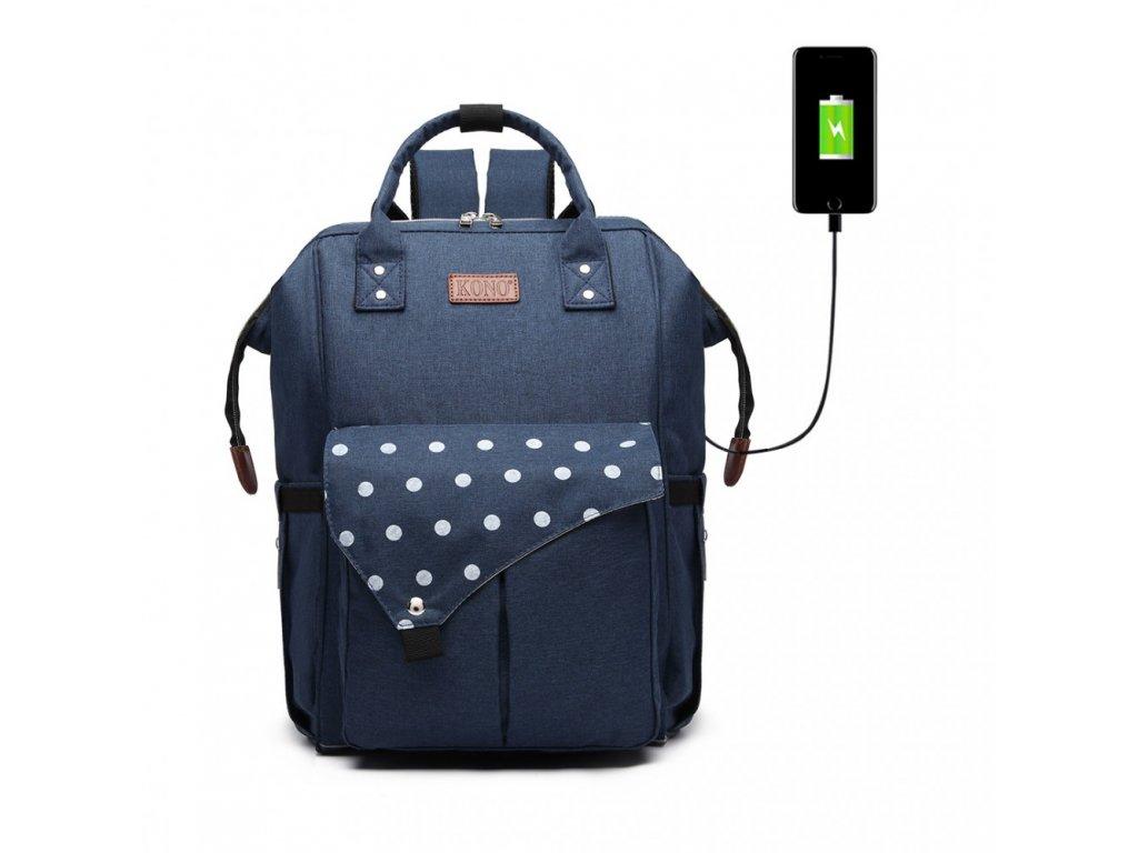 Přebalovací batoh na kočárek Polka s USB portem - modrý s puntíky