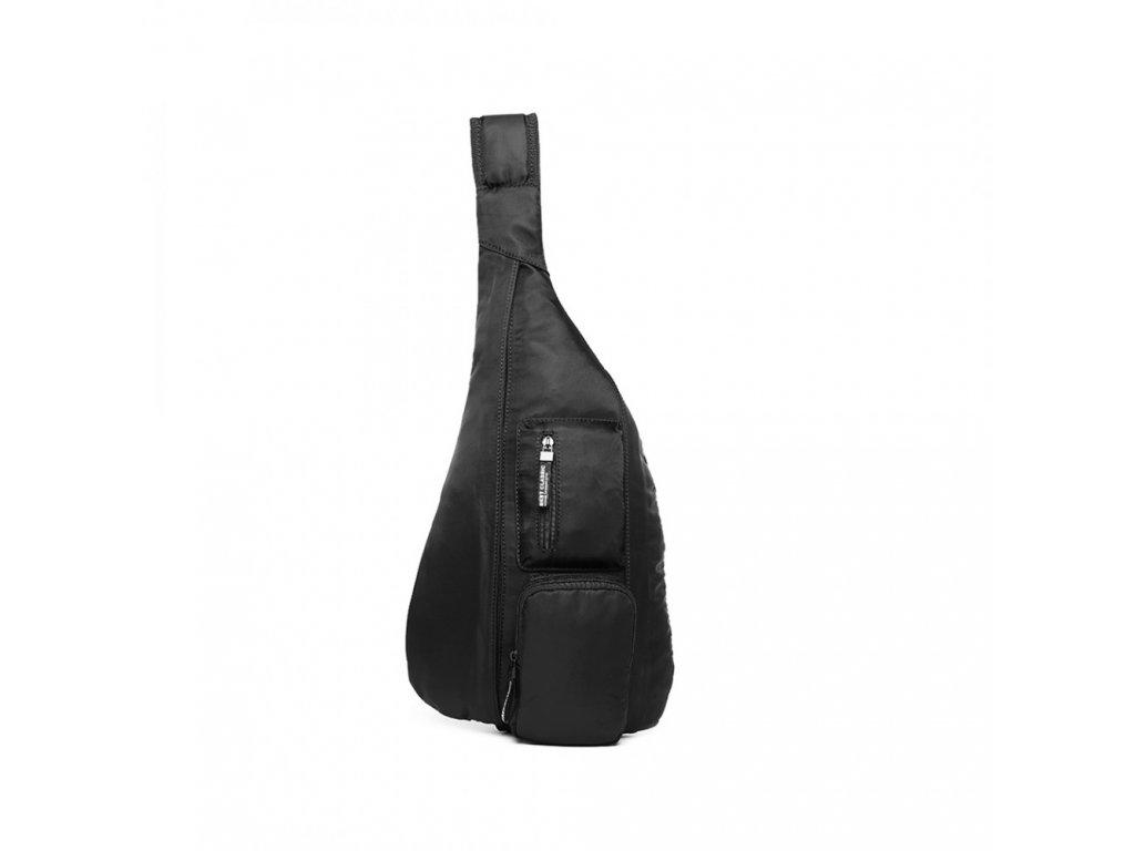 Moderní pánský úzký batoh přes hrudník - černý