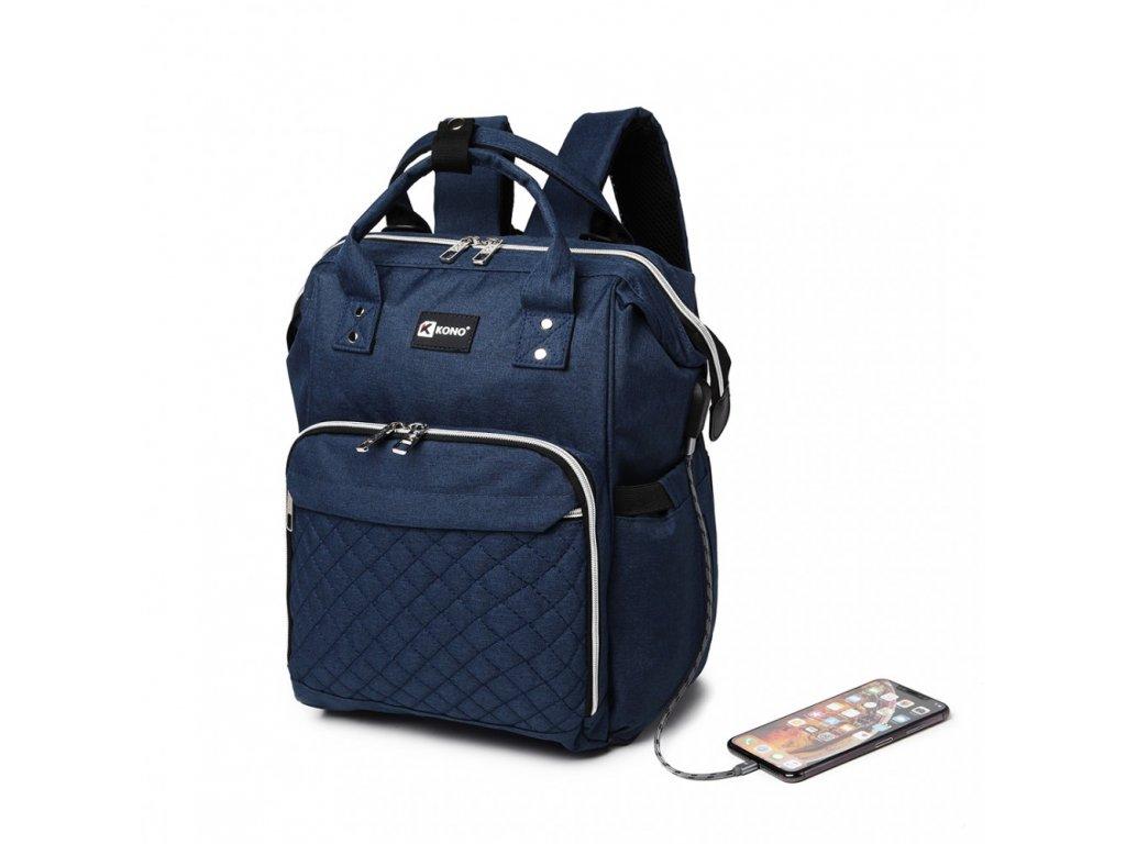 Přebalovací batoh na kočárek Kono s USB portem - modrý