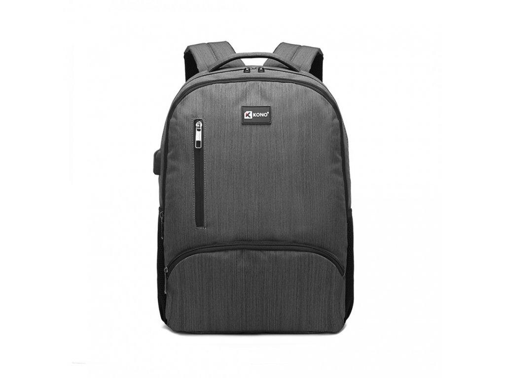 Klasický městský batoh Luno s USB portem - šedý
