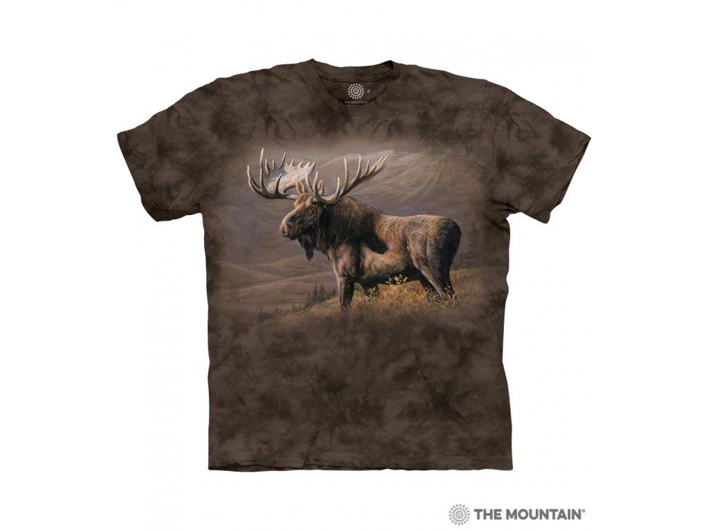 Pánské hnědé tričko s potiskem losa na louce.