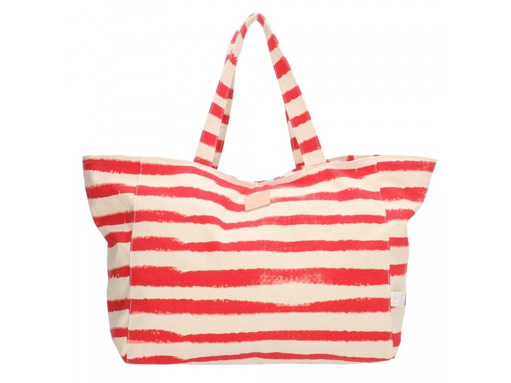 Bavlněná pruhovaná plážová taška PE-Florence - červená