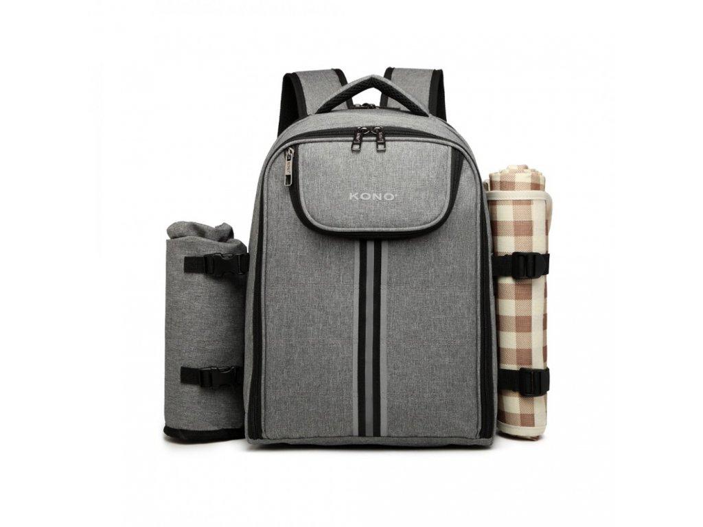 Piknikový batoh s dekou KONO - šedý