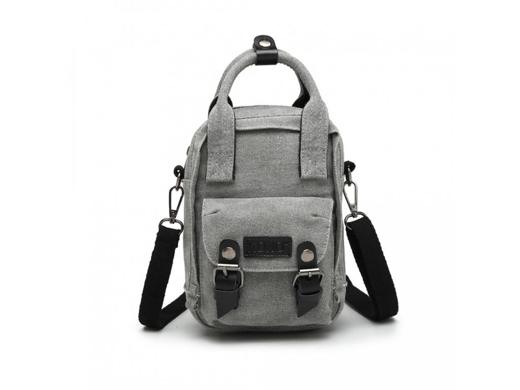 Crossbody mini taška a batůžek v jednom - šedá