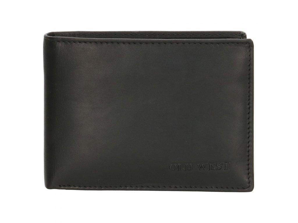 Kožená peněženka bez přezky Old West Houston - černá