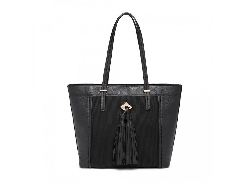 Elegantní kabelka Miss Lully s třásní Nikol - černá