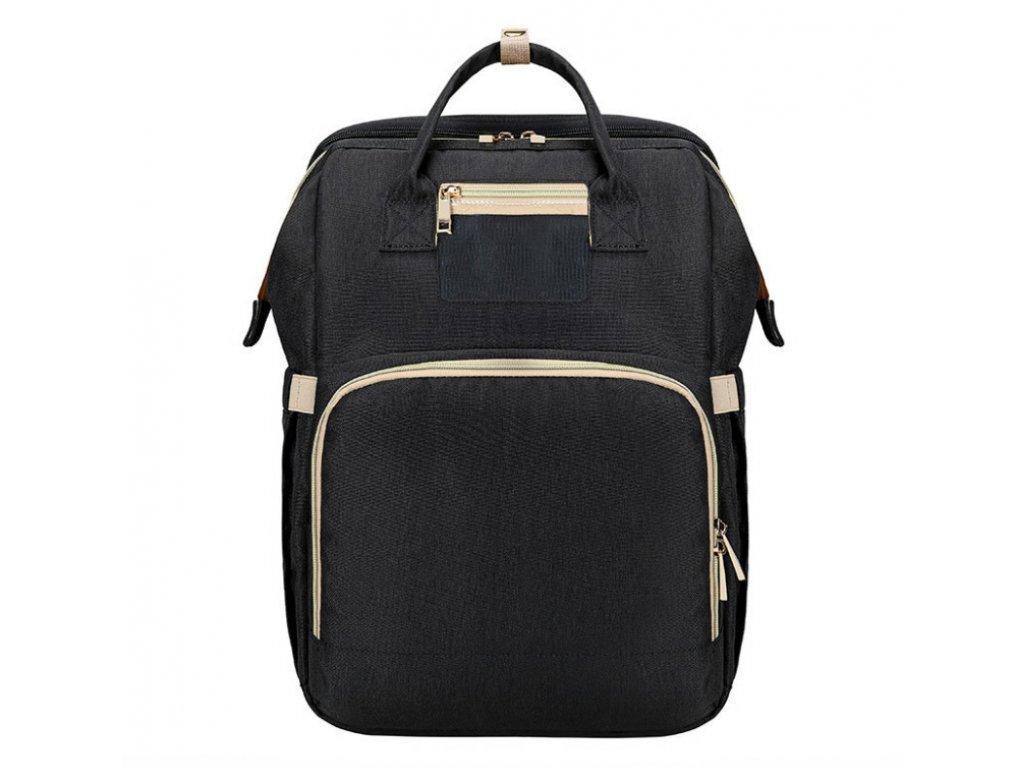 Přebalovací batoh na kočárek se zabudovanou postýlkou - černý
