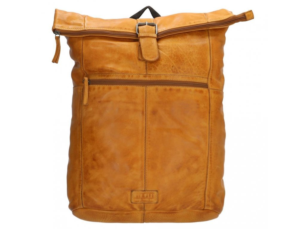 """Batoh z pravé kůže Old West Paint Rock na notebook 15,6"""" (38 cm) - okrový"""