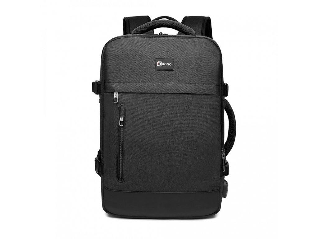 Variabilní cestovní batoh s USB portem 23L - 35L Kono Trip - černý