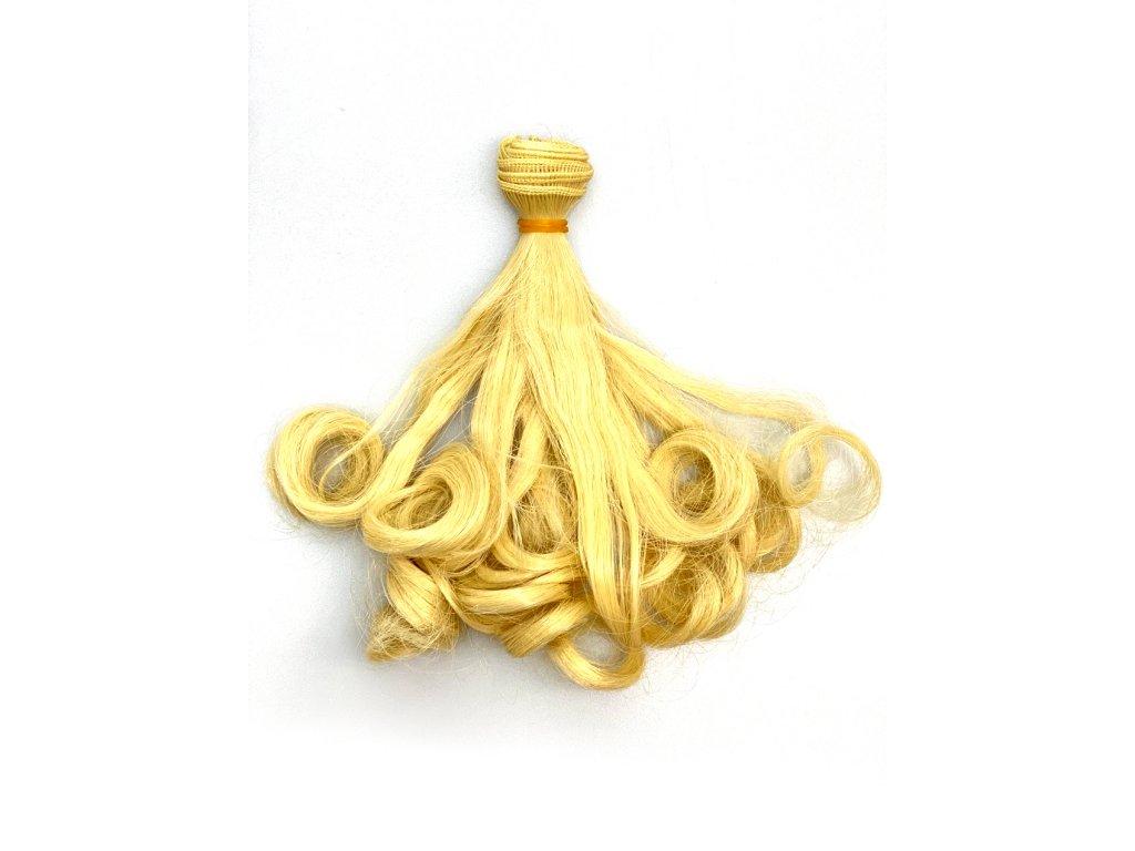 Umělé vlnité vlásky pro výrobu panenek - blond