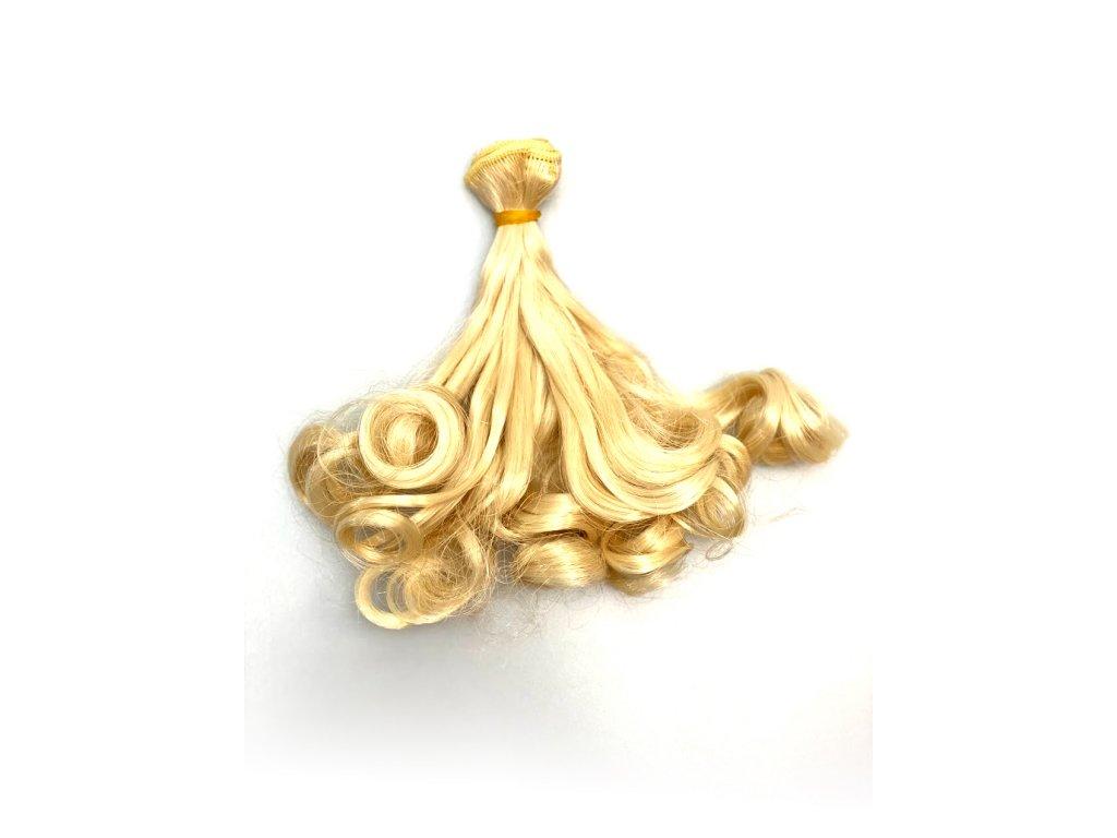 Umělé vlnité vlásky pro výrobu panenek - světlá blond