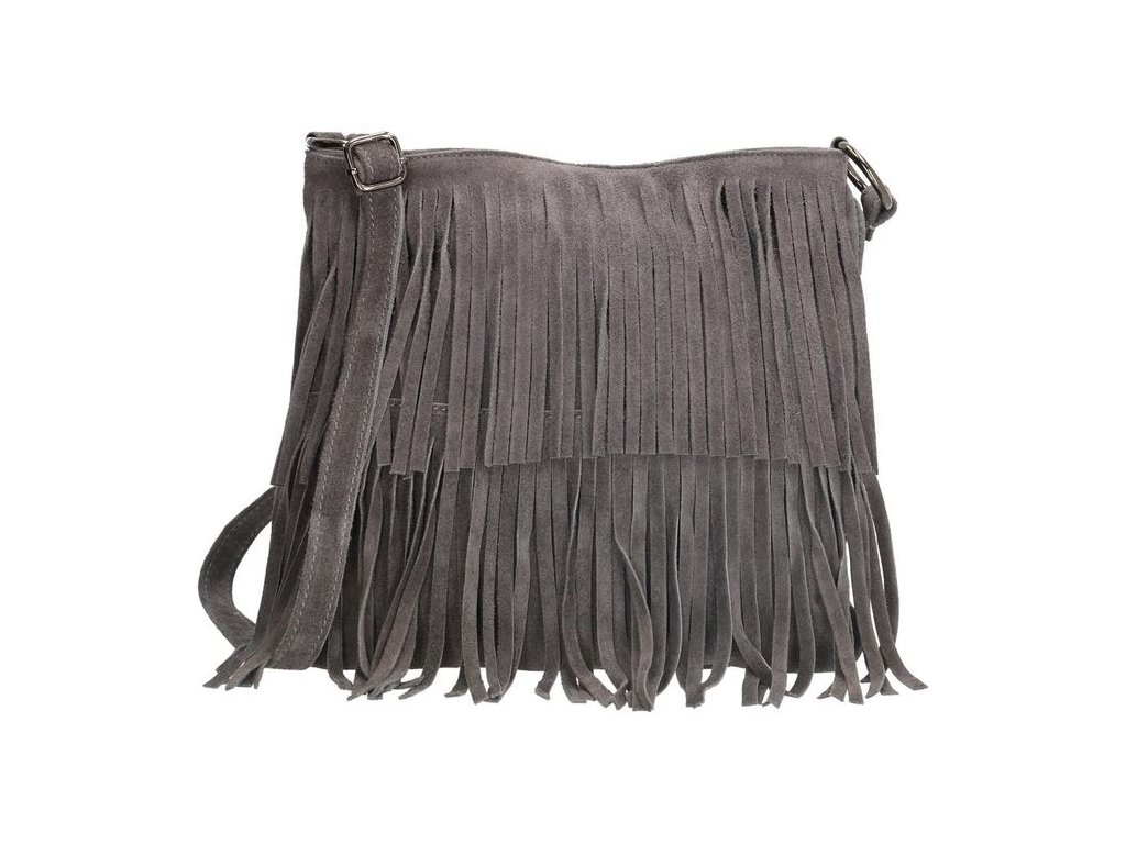 Crossbody kožená třásňová kabelka Charm London Elisa - šedá