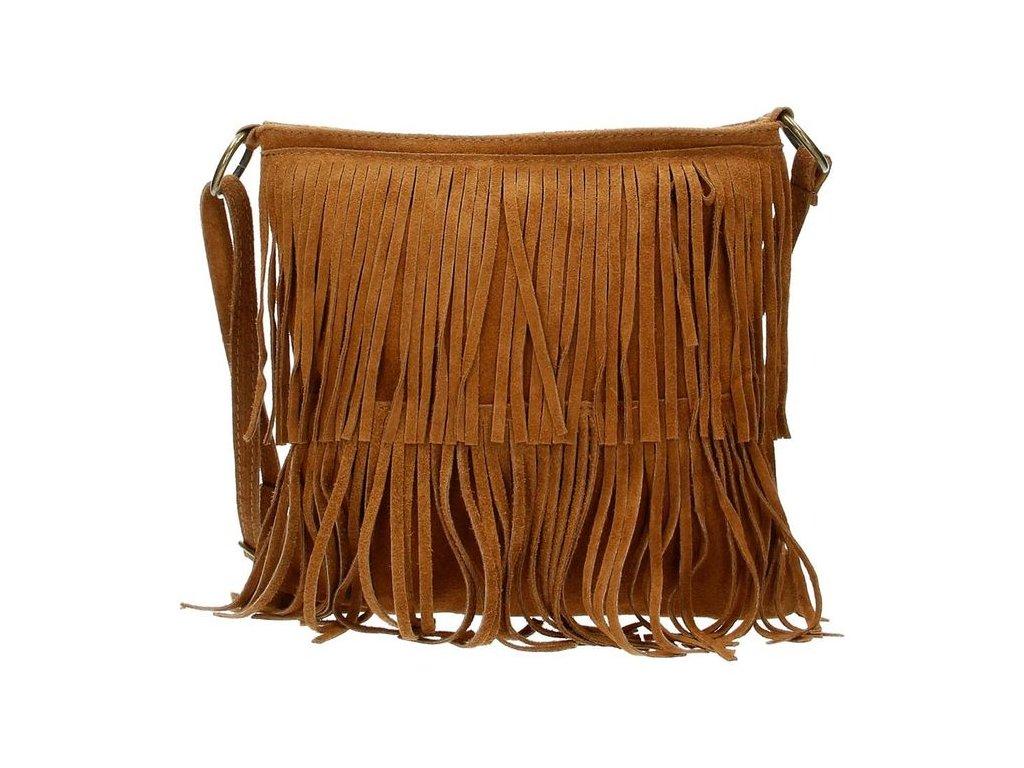 Crossbody kožená třásňová kabelka Charm London Elisa - hnědá