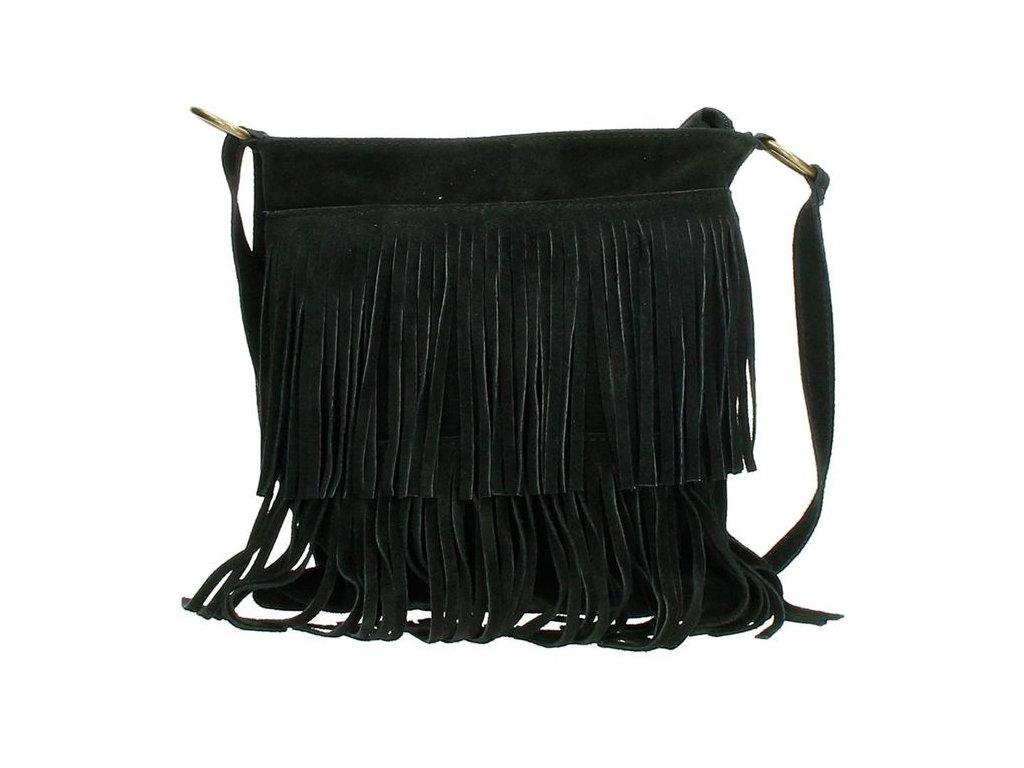 Crossbody kožená třásňová kabelka Charm London Elisa - černá