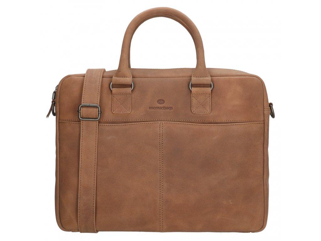 Kožená byznys taška na notebook Micmacbags malmö 15,6 inch (38 cm) - hnědá
