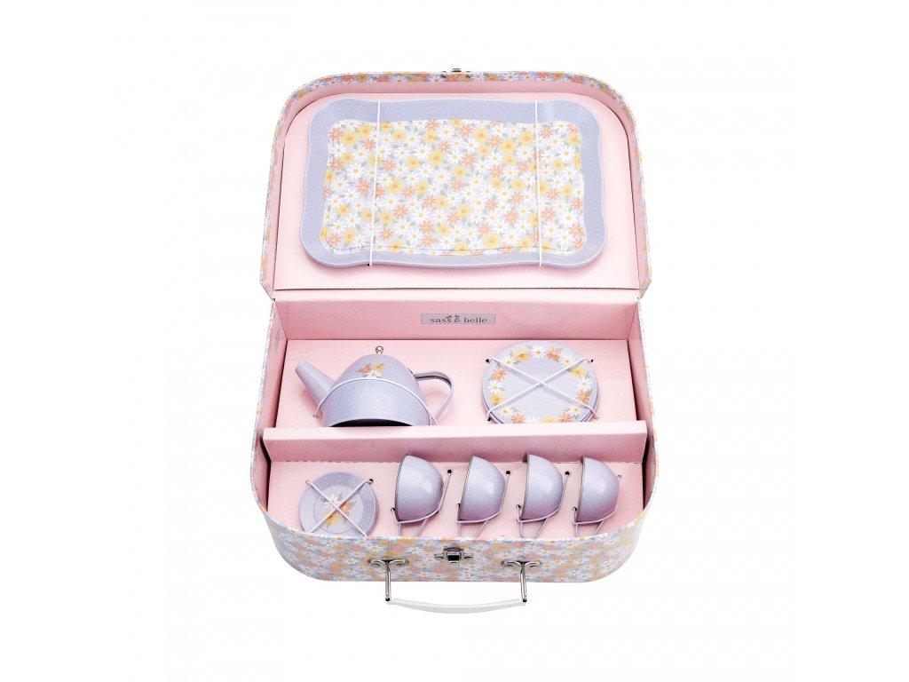 Cínový kufřík s čajovou souprava Blue Daisy Sass & Belle