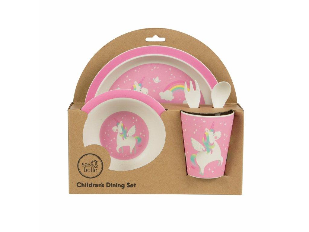Dětská jídelní bambusová souprava - unicorn