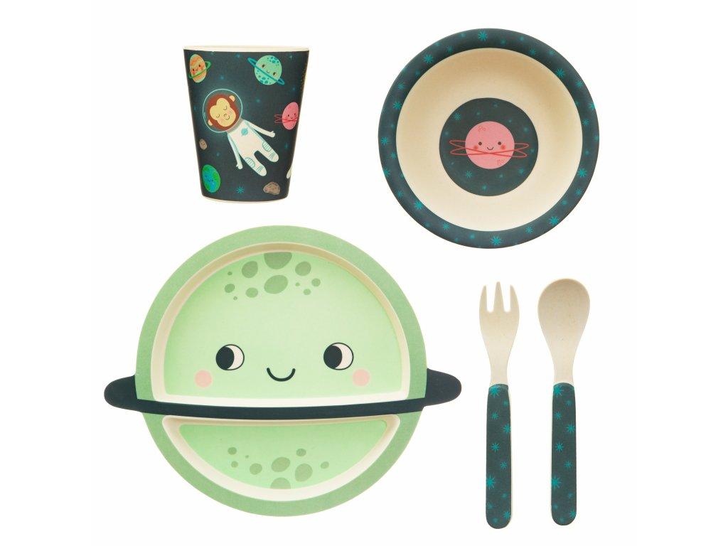 Dětská jídelní bambusová souprava - SPACE EXPLORER
