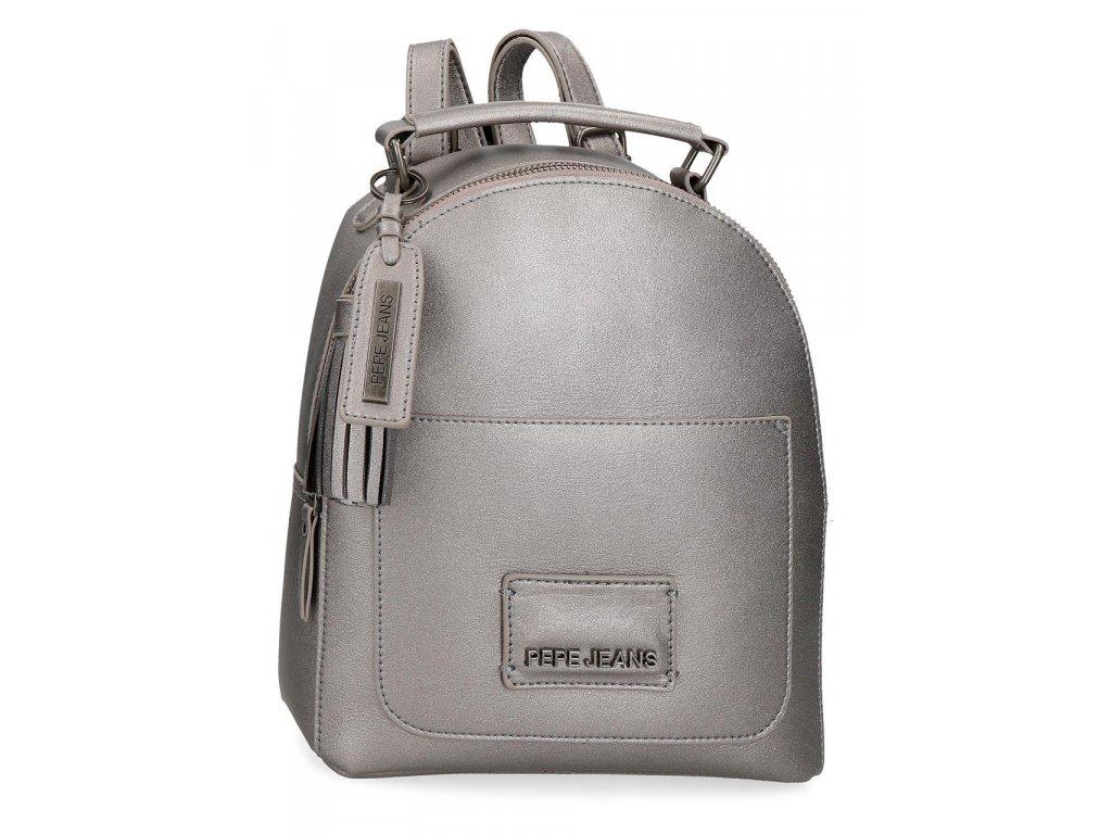 Dámský elegantní batoh Pepe Jeans Cira Metallic - šedý