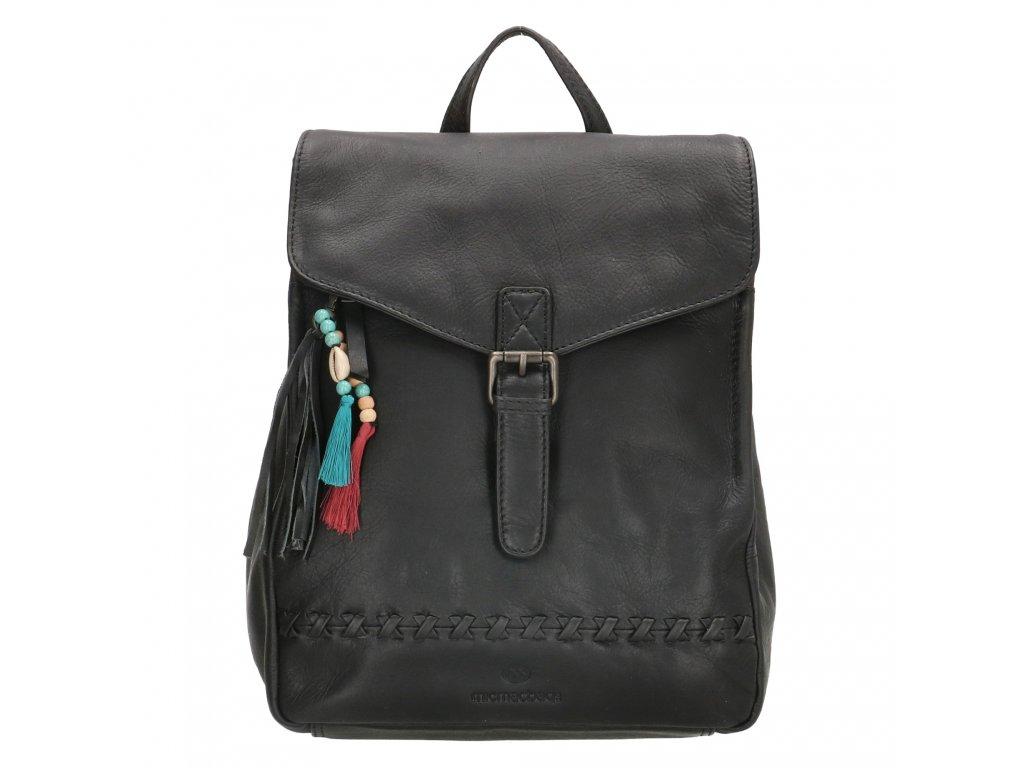 Dámský kožený batoh Micmacbags Friendship - černý