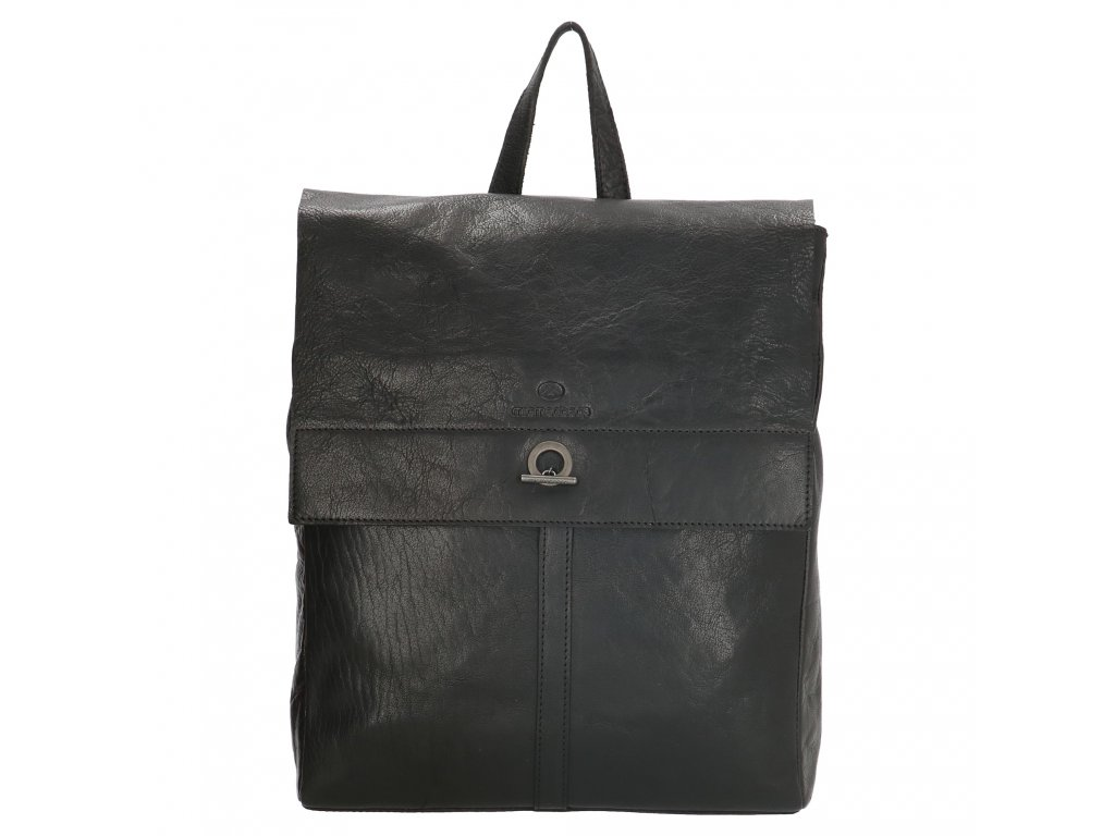 """Dámský laptop batoh z pravé kůže Micmacbags Golden Gate - černý (13,3"""")"""