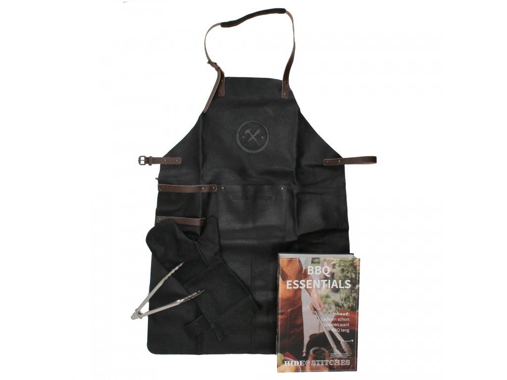 Kožená zástěra na grilování v dárkovém balení s rukavicí Hide & stitches - černá