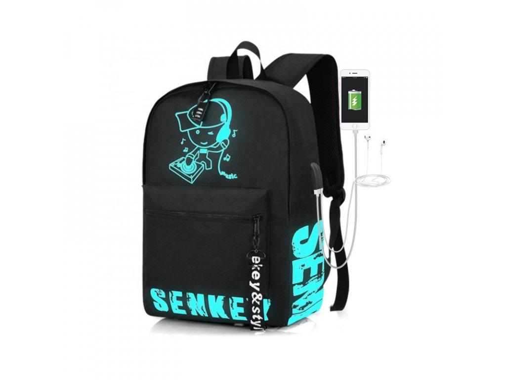 Školní svítící batoh Senkey DJ s USB portem - černý - 18,5L