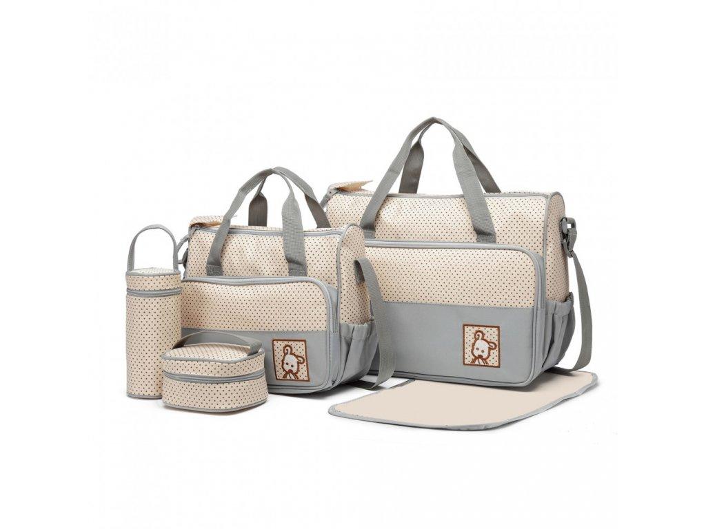 Sada Mateřských tašek a doplňků - 5 kusů - světle šedá