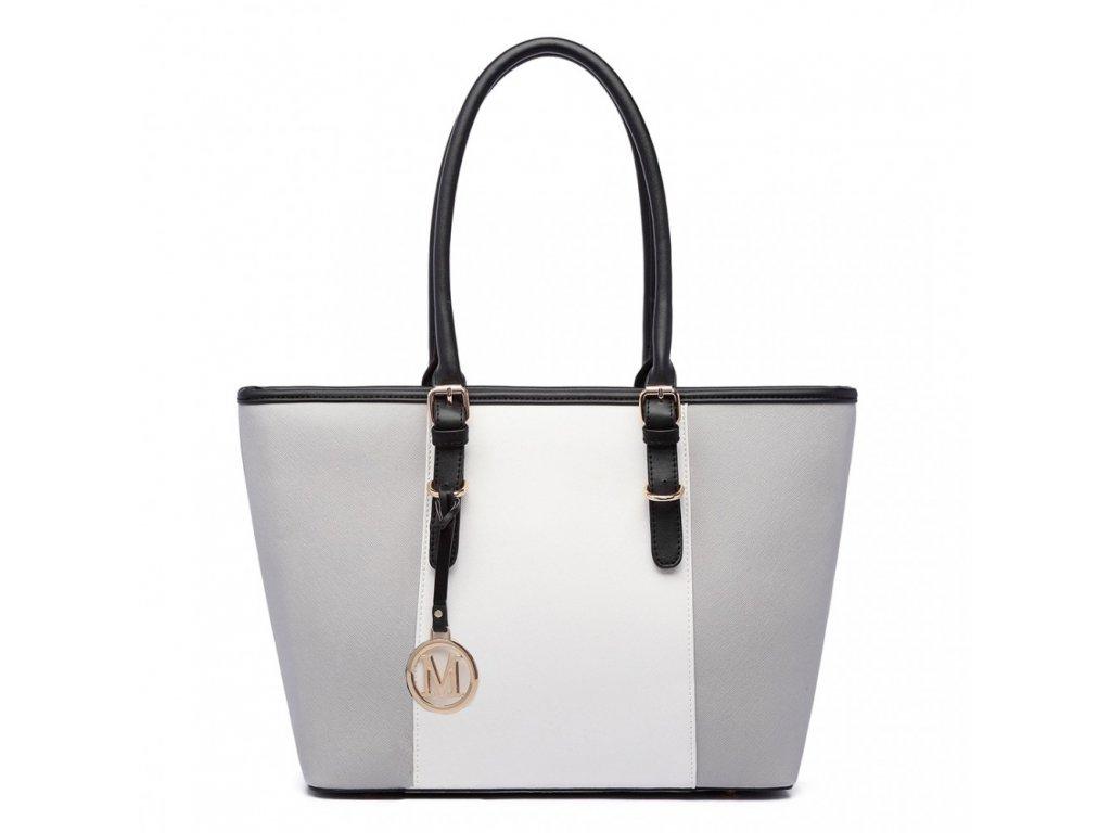 Elegantní kabelka šedá s bílým pruhem