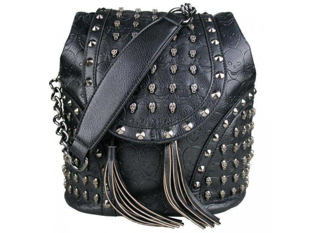 Víceúčelový dámský batoh a taška v jednom s lebkami - Skull černý