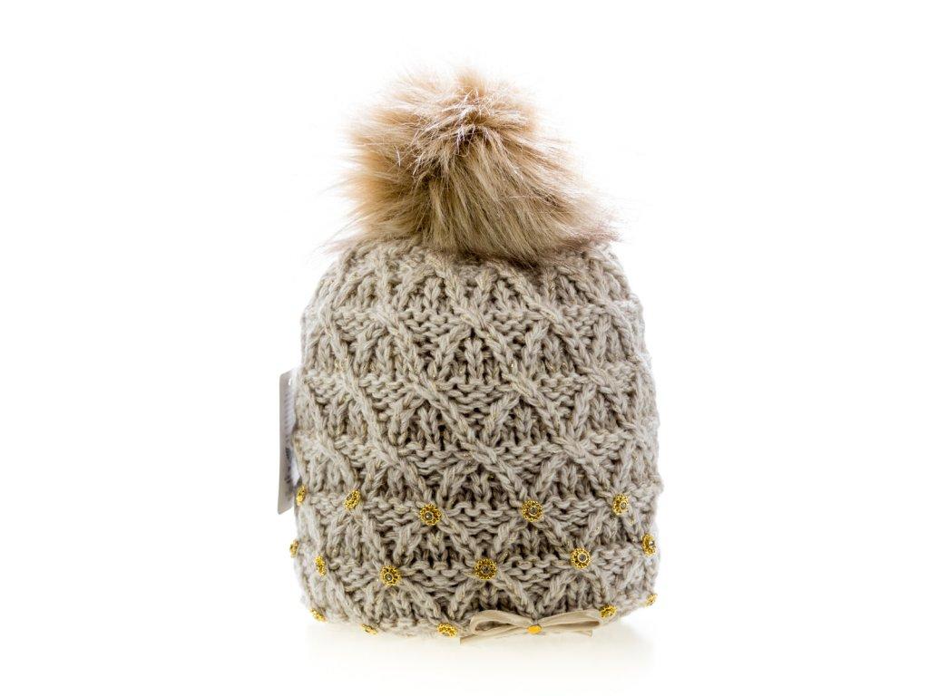 Béžová dámská zimní čepice s mašličkou - pletená a zateplená - Perfect 209ba985fc9
