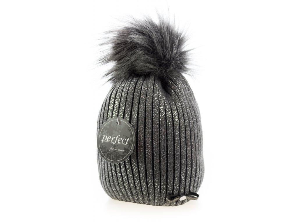 Tmavě šedá dámská zimní čepice s mašličkou a stříbrným odleskem -  Perfect