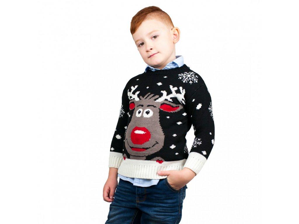 Dětský vánoční svetr se sobem - černý