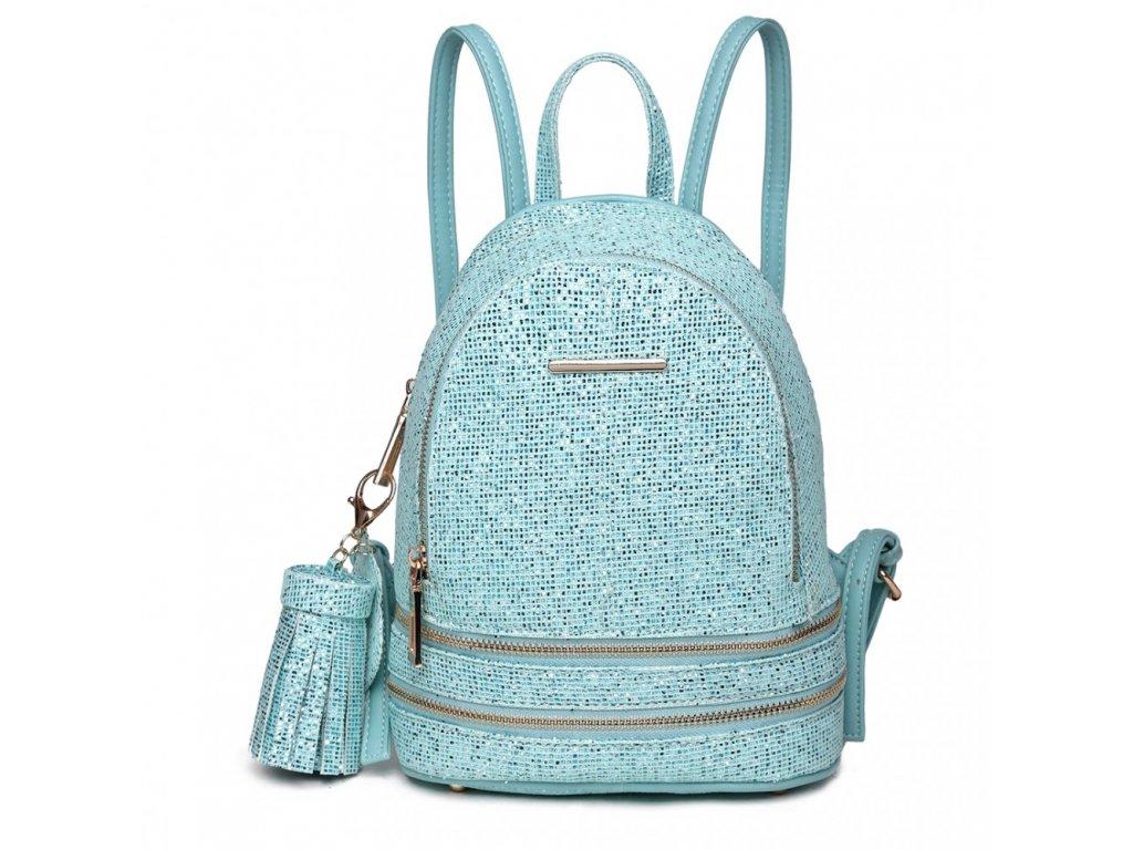 Rozkošný modrý batůžek Miss Lulu s třpytivými kamínky