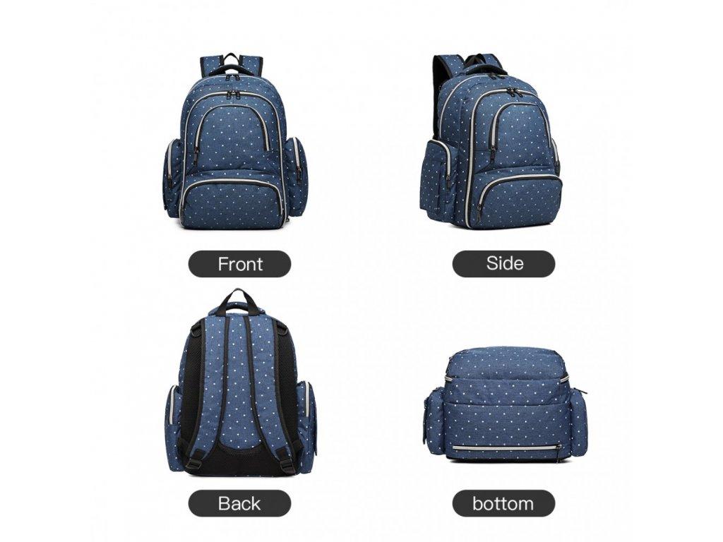 Přebalovací batoh s doplňky na kočárek - modrý s puntíky