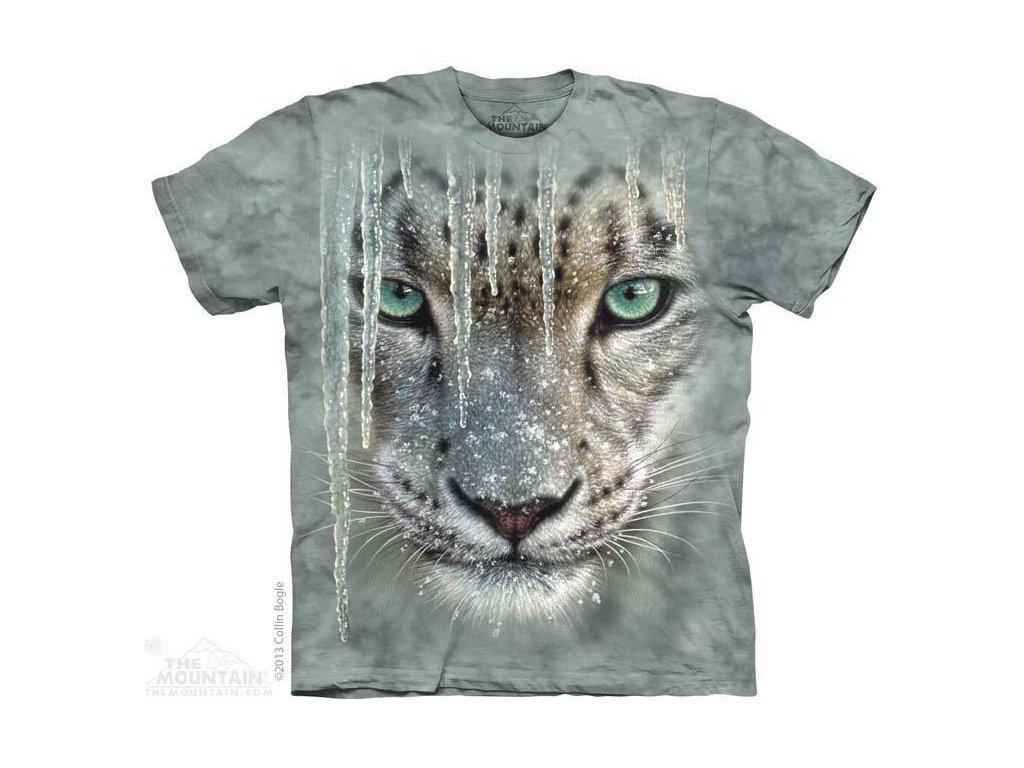 Tričko s potiskem sněžný leopard a rampouchy
