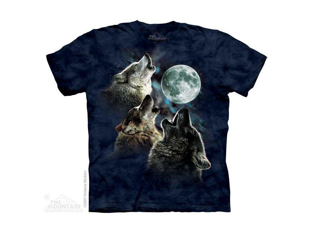 Tričko s potiskem 3 vlci měsíc v modrém - 2017