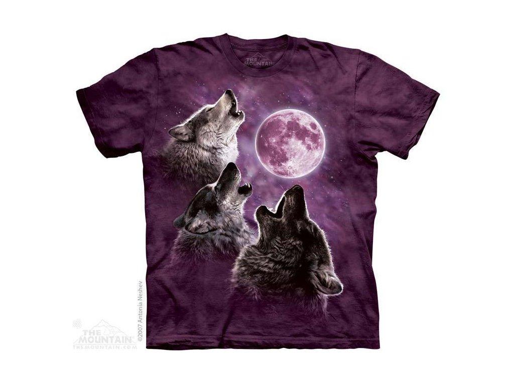 Tričko s potiskem 3 vlci fialový měsíc - 2017
