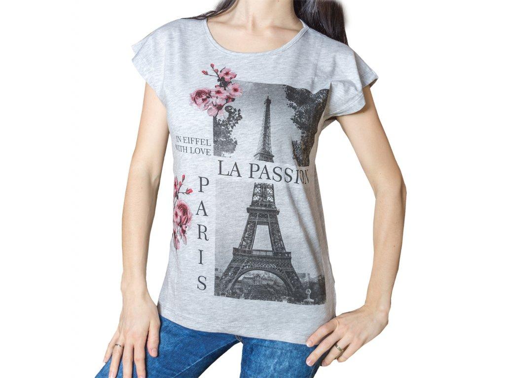 Dámské tričko s potiskem - Paříž Eiffelova věž