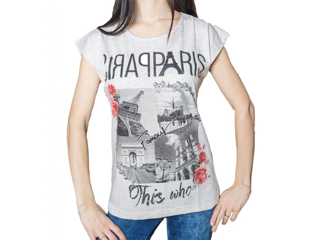 52779a28937 Dámské tričko s potiskem - Paříž - RájTriček.cz