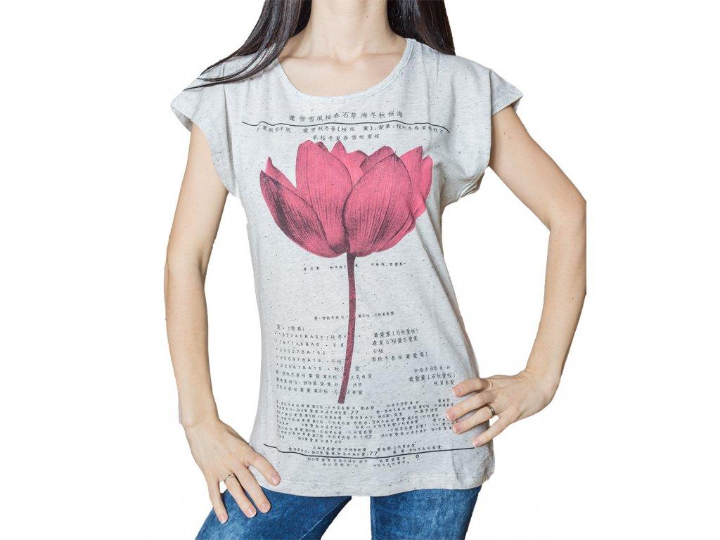 Dámské tričko s potiskem - Lotosový květ - šedé žíhané